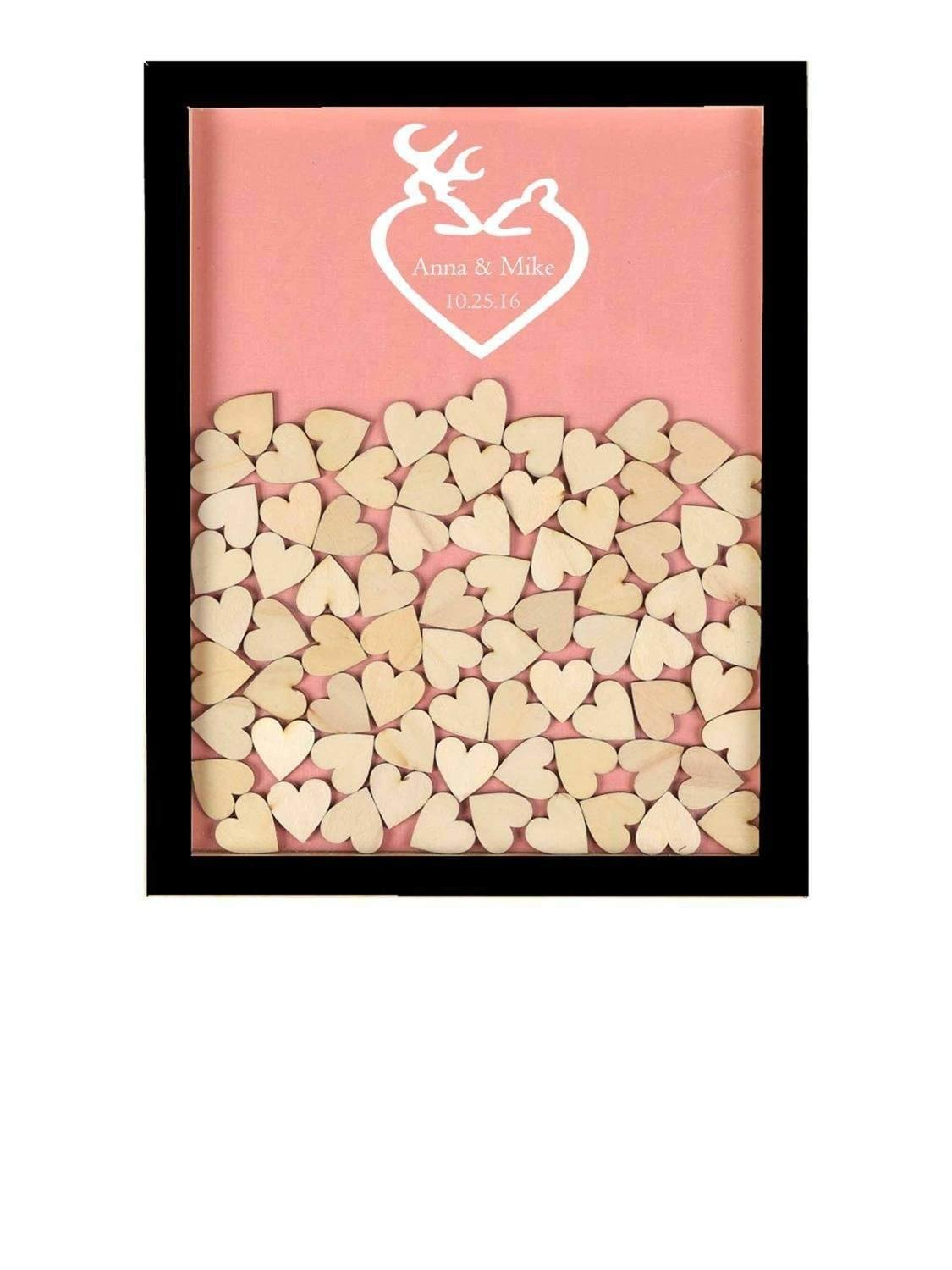 Teisyouhu Custom Coral Love Reindeer Themed Guest Book Sign In Wood Drop Top Guest Book Wedding Alternative Frame for Wedding Party Decorations 12 x 14 inch with 120 Hearts