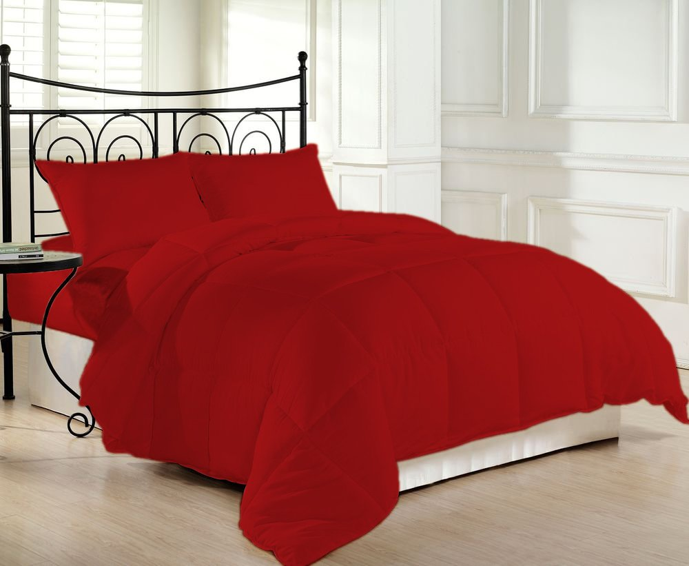 1200 Thread Count Luxurious and Cozy 100% Egyptian Cotton Comforter Red California King By Kotton Culture Solid (Cocoon Feel 300 GSM Appropriate for Winters Microfibre filling)