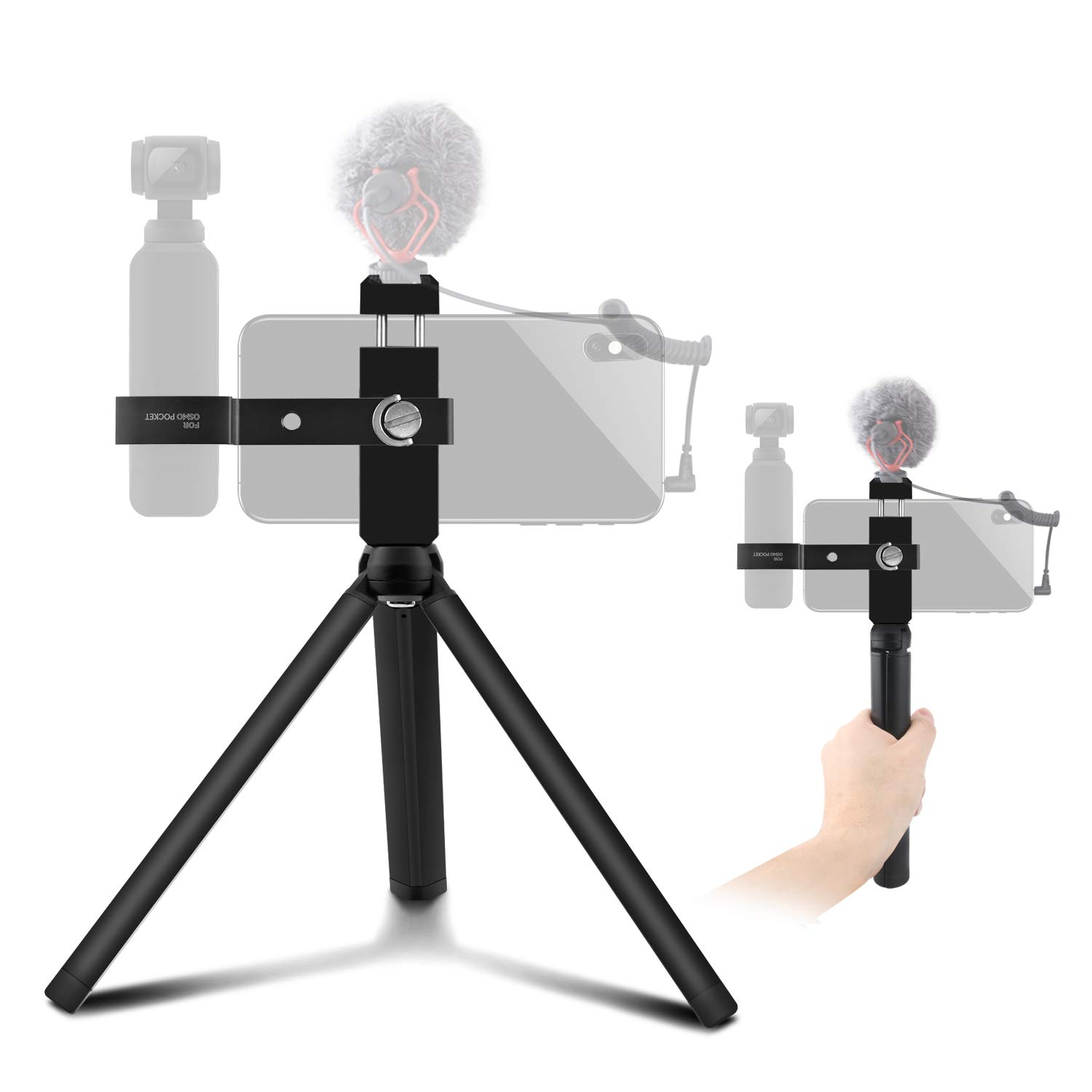 Alcoon Aluminum Handheld Phone Holder Tripod Mount Stand Compatible for DJI Osmo Pocket Accessories with Cold Shoe Interface and 1/4 Inch Thread