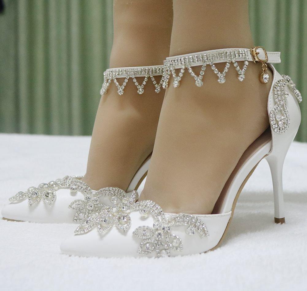 MSFS Damenschuhe Hochzeit Strass Pumpen Pfennigabsatz Braut Knöchelriemen Weiß Größe Größe Größe 35 Bis 41 62a789