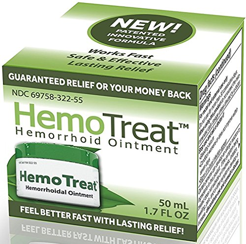 HemoTreat - Hemorrhoid Treatment Cream,FDA LISTED for Fast Safe Effective Hemorrhoidal Symptom Relief, 1.7 Oz Ointment for INTERNAL and EXTERNAL Hemorrhoids