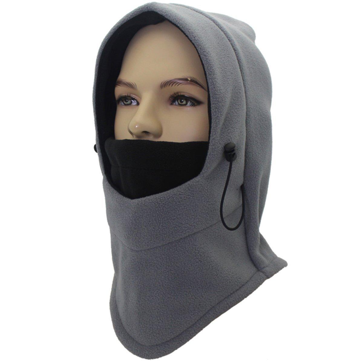 Miracu Heavyweight Balaclava Windproof Ski Face Mask Winter Fleece Hat/Hood Outdoor for Men, Women and Children ,Gray & Black,One Size