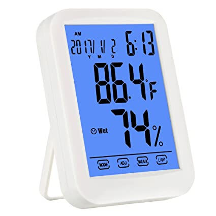 Captivating Digital Hygrometer Thermometer, New Stylish Indoor Multifunctional Jumbo  Touchscreen Humidity Meter With Blue Backlight Humidity