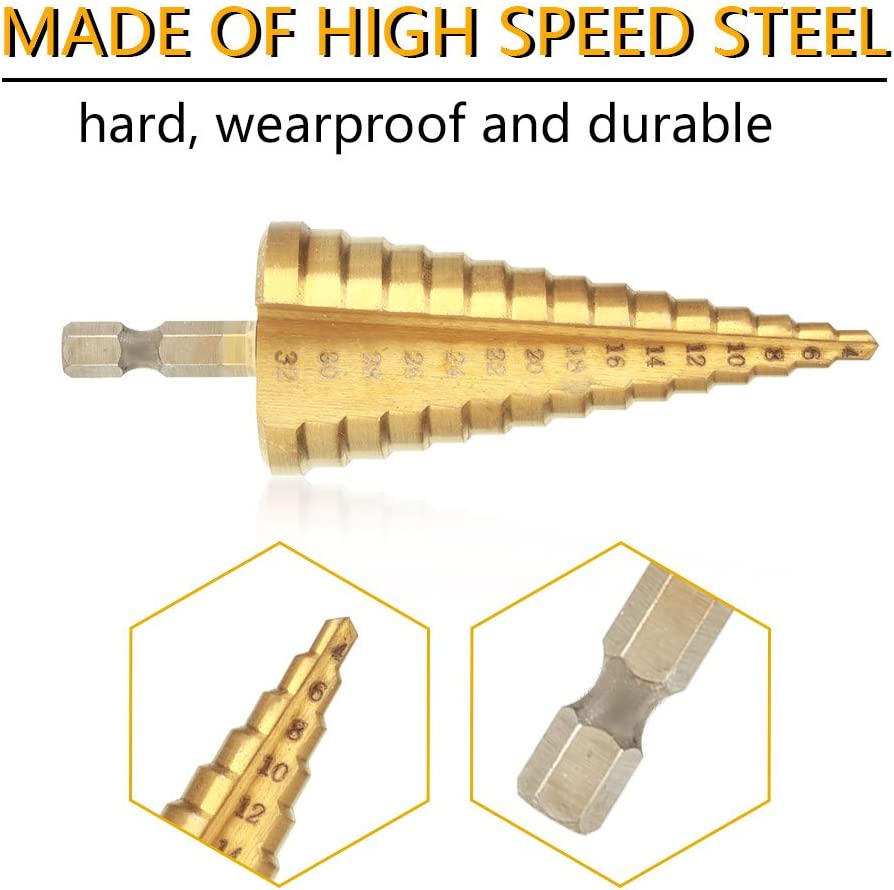 3-12mm Punta del Trapano Alta Velocit/à con Titanio HSS Drill Bit Kit 4-32mm// 4-20mm// 4-12mm// 3-12mm Punte Coniche per Eseguire Foro In Acciaio Metallo Legno Plastica Ferro