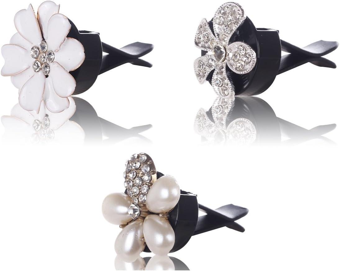 MINI-FACTORY Car Bling Interior Accessories, Car Air Vent Rhinestone Diamond Decoration - Crystal Flowers (3 Piece)
