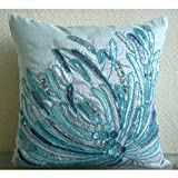 """Blue Decorative Pillow Cover, Aqua Sequins and Beaded Beach and Ocean Theme Pillows Cover, 18""""x18"""" Throw Pillow Cover, Silk Pillows Cover, Floral Mediterranean Decorative Pillows Cover - Water Burst"""
