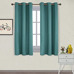 NICETOWN Thermal Insulated Solid Grommet Blackout Curtains/Drapes/Panels for Dining Room (Sea Teal, 1 Pair, 42 by 63-Inch)