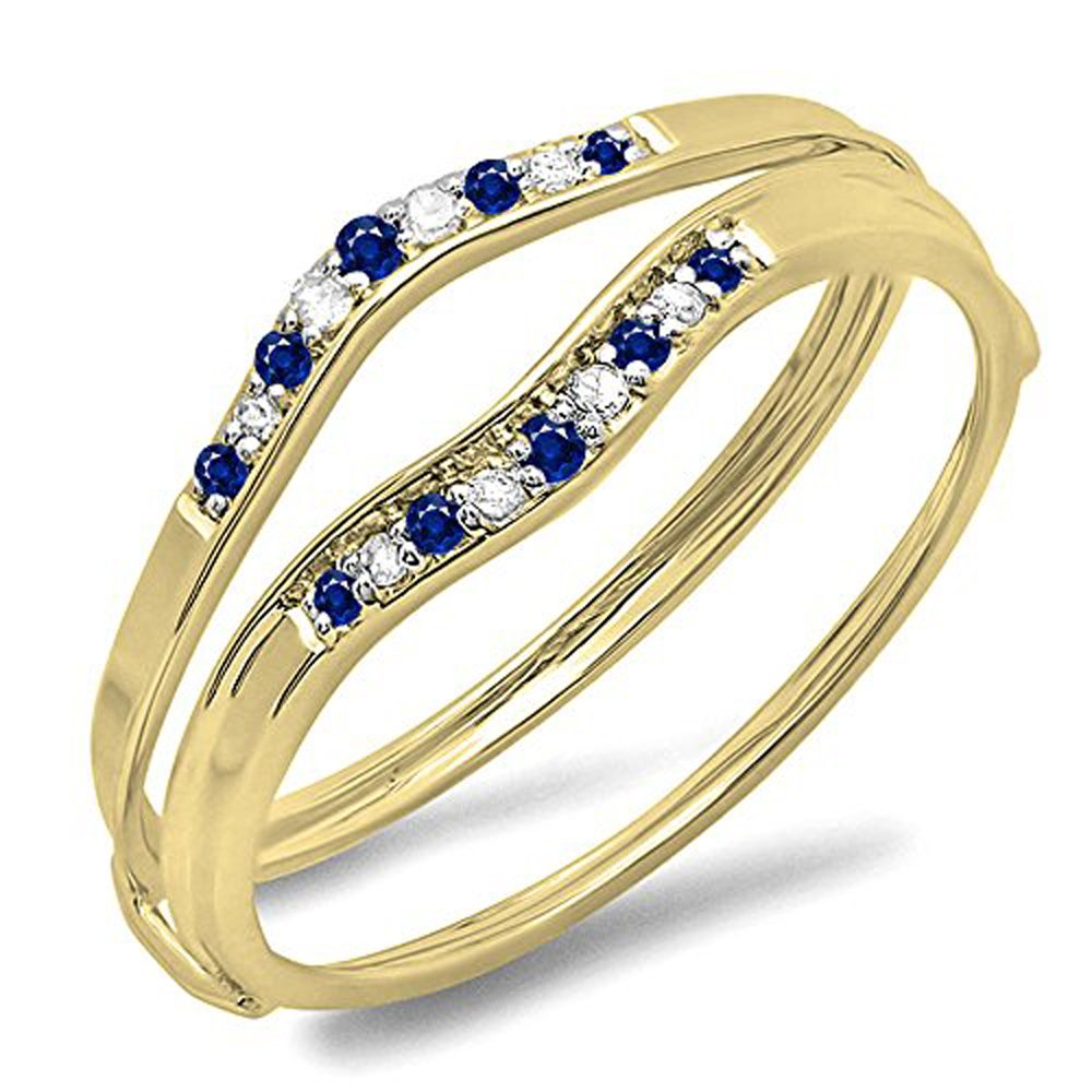 Dazzlingrock Collection 10K Blue Sapphire & White Diamond Ladies Anniversary Enhancer Guard Wedding Band, Yellow Gold, Size 7