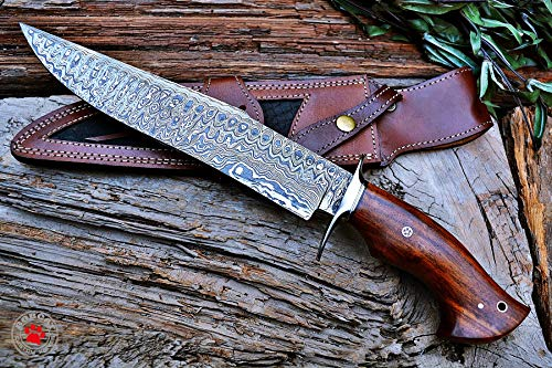 Custom Handmade Bowie Knife Hunting Knife Promotional Price Full Tang Damascus Steel 10'' Solid Walnut Wood Handle with Nice Sheath by Bobcat Knives (Image #6)