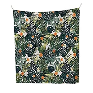 FloralBotanic Tropic Leaves and Flowers Hawaiian Theme Summer Plants IllustrationGreen and White 52