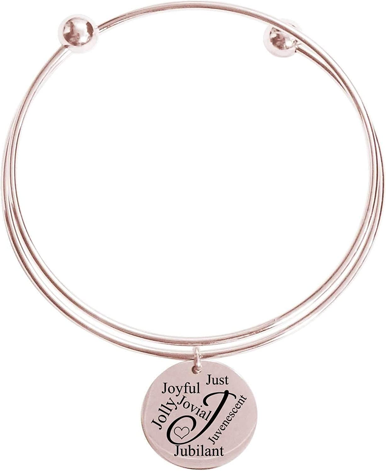 Pink Box Initial Double Layer Bangle J Silver