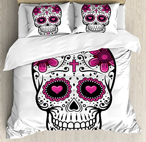Ambesonne Sugar Skull Duvet Cover Set Queen Size, Flowers and Hearts Swirls Cruciform Gothic Cultural Celebration Day, Decorative 3 Piece Bedding Set with 2 Pillow Shams, Pink White
