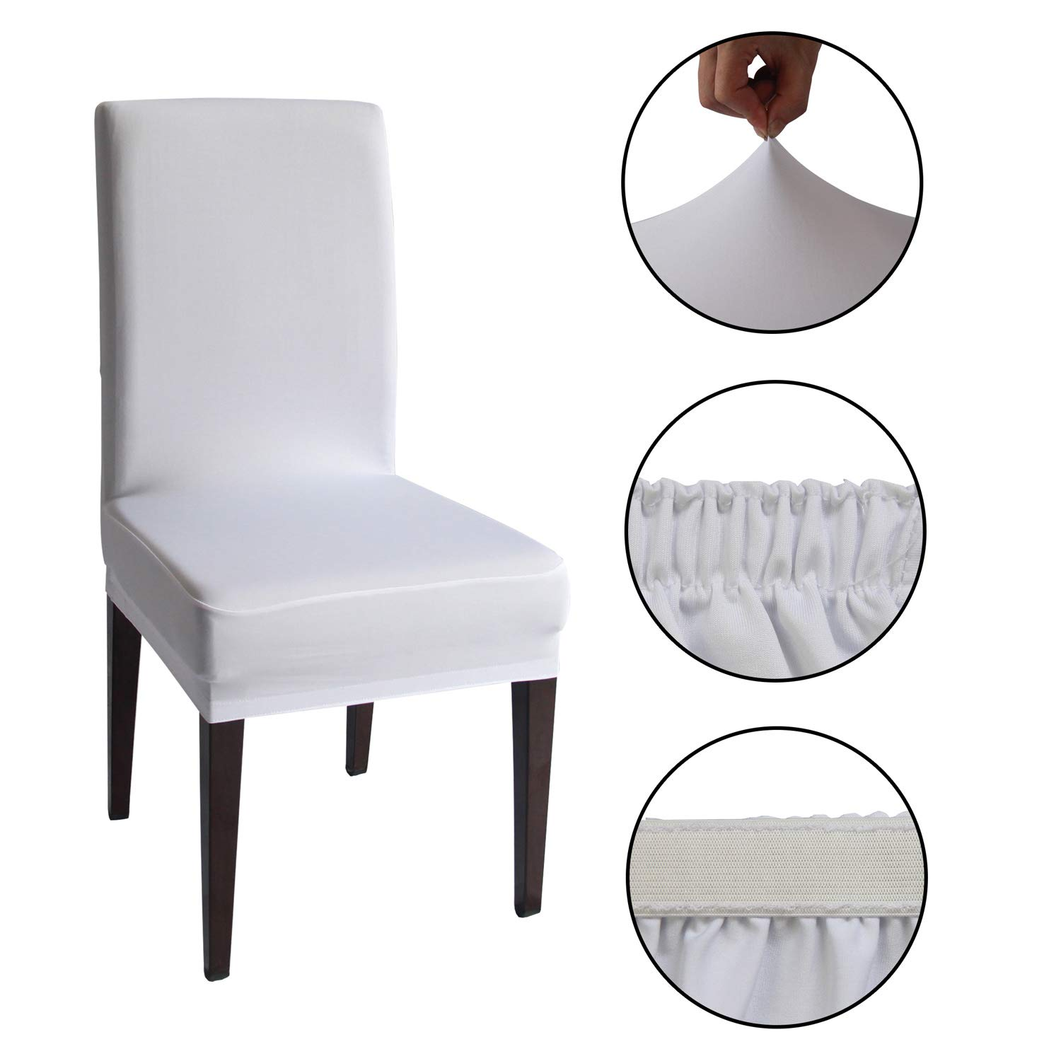 4 PCS Knit Removable Washable Dining Chair Slipcovers Gray, 4 Gray Spandex Stretch Dining Chair Covers