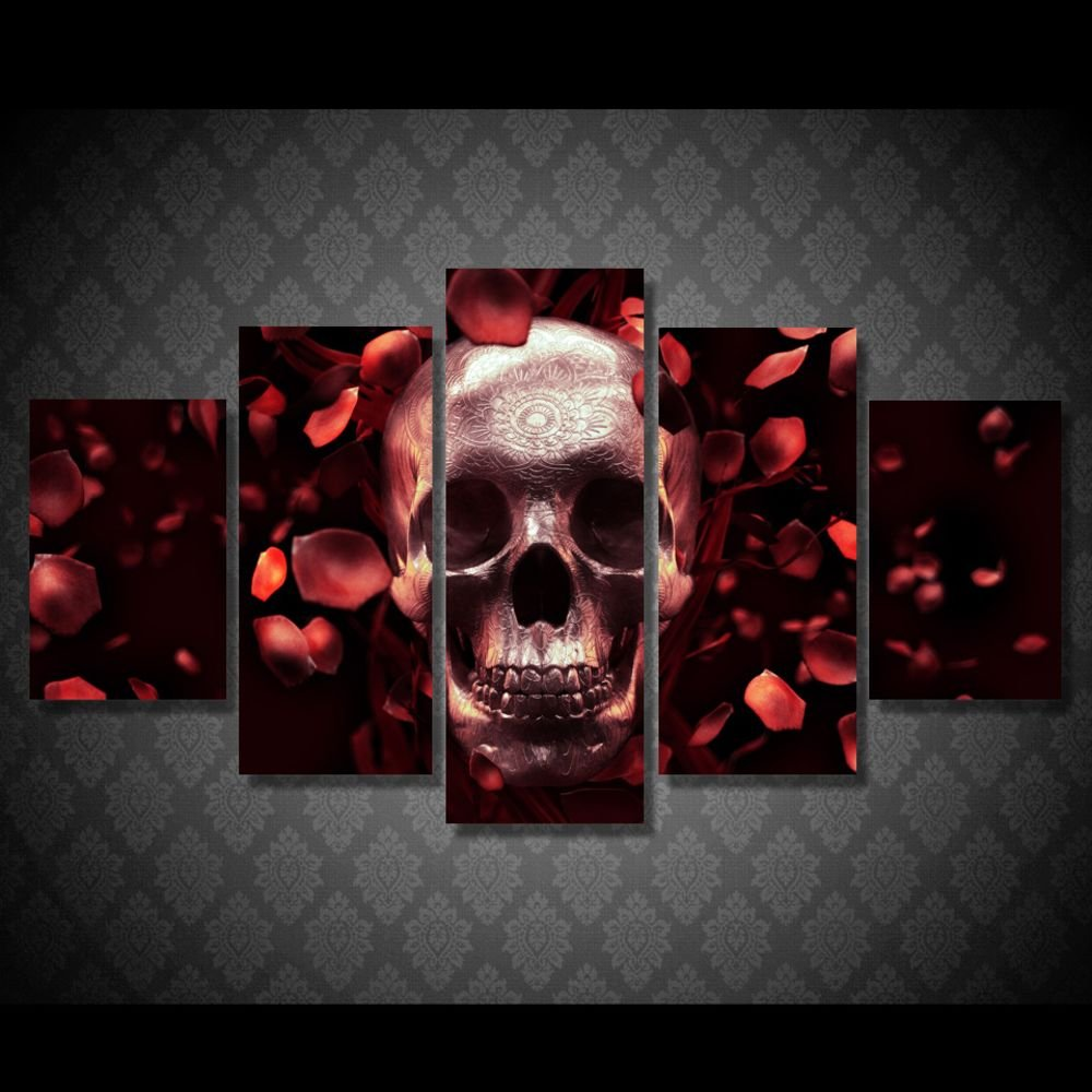 563fa9f7fcd Amazon.com  Painting Canvas Pictures Skull Full Red Rose Wall Art Paintings  Print on Canvas Modern Art Posters(WITH FRAME)  Posters   Prints