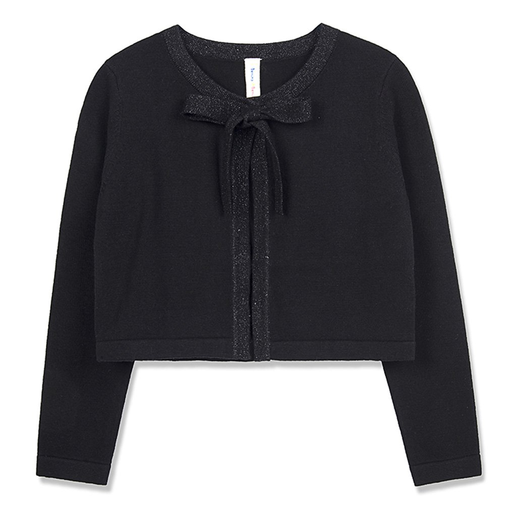 Benito /& Benita Girls Sweater Cardigan Long Sleeve Cotton Sweater with Sparkle Bows Black//Red for 3-12Y