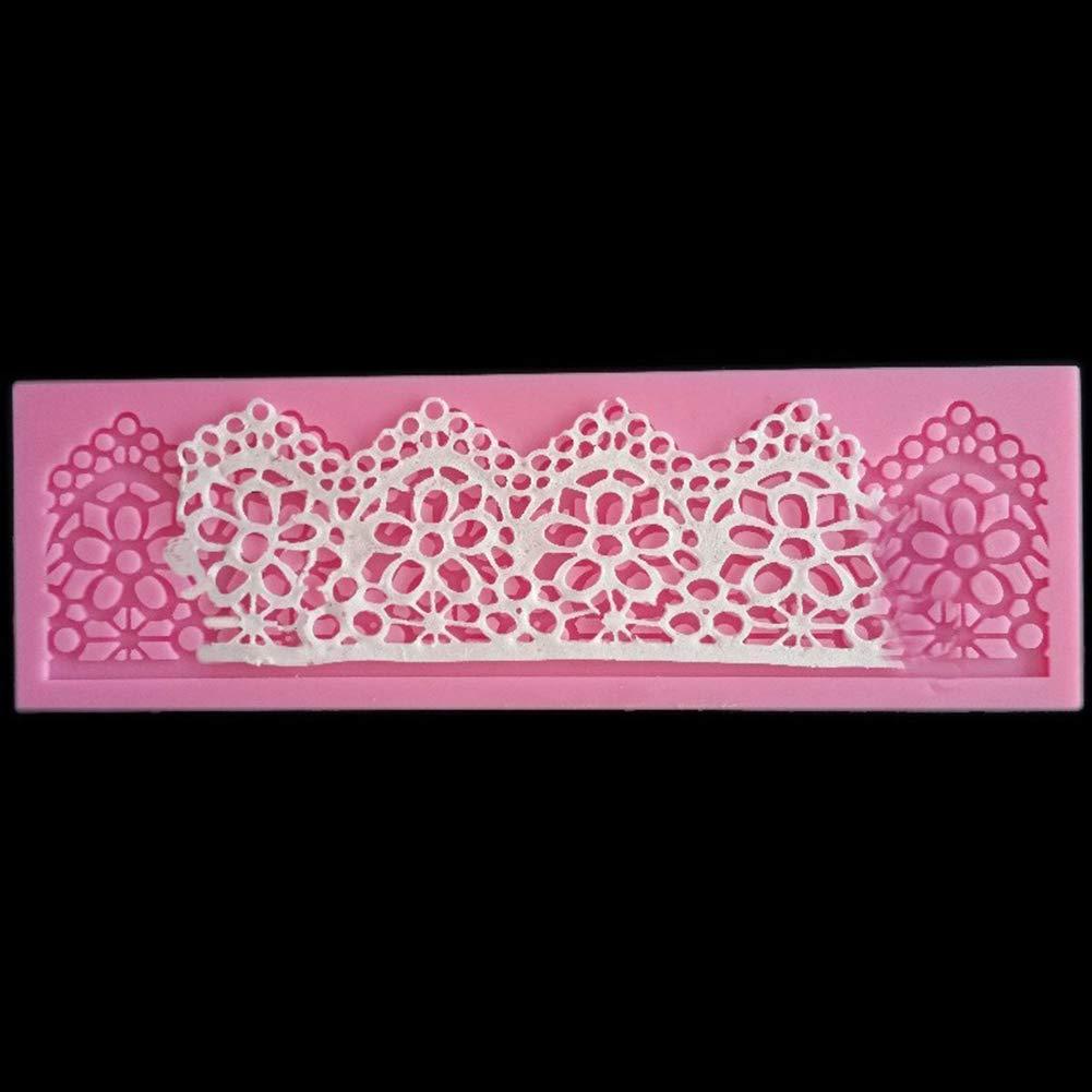 Flower Lace Fondant Chocolate Cake Rim Decorating Silicone Mold Baking Tool - Pink