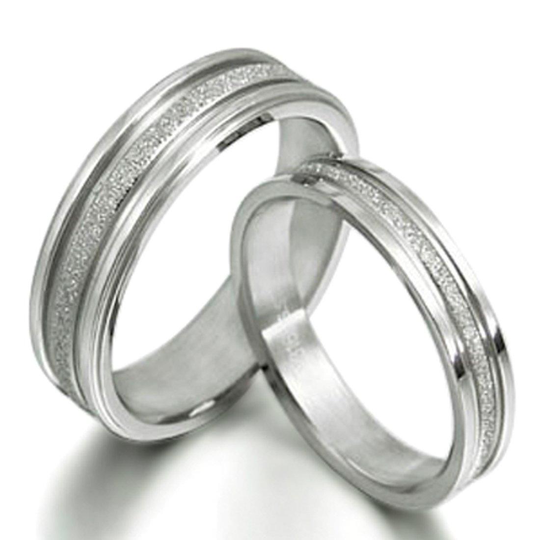 Gemini Groom /& Bride Matching Couple Titanium Wedding Engagement Rings Set 6mm /& 4mm Width Men Ring Size 8.5 Women Ring Size 6.5