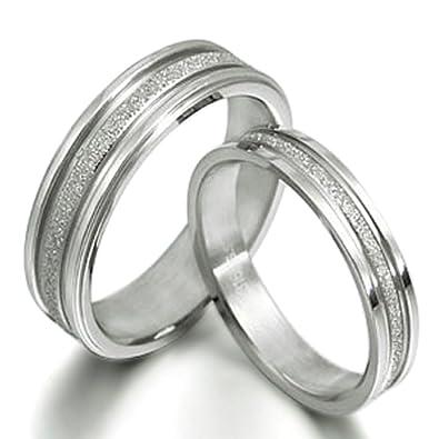 Gemini Free Engrave Groom & Bride Matching Anniversary Couple Titanium Wedding Bands Rings Set, UK Size H to Z6Gemini