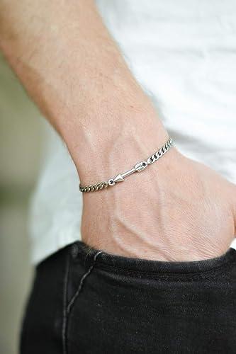 Arrow Bracelet Men S Bracelet Silver Link Chain Arrow Charm
