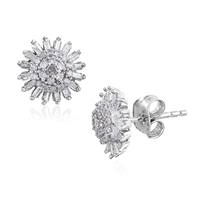 TJC Women Platinum Plated Sterling Silver Blue Diamond and Diamond Stud Earrings FN8CM