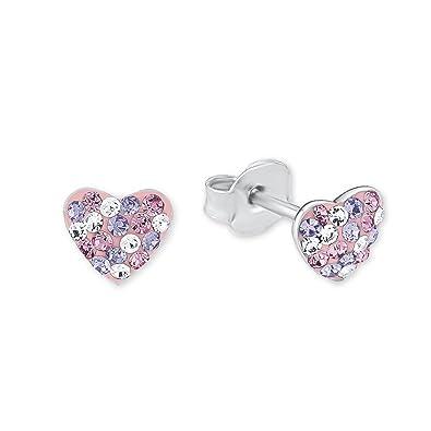 Prinzessin Lillifee Kinder-Ohrstecker Herzen 925 Silber Kristall rosa lila   Amazon.de  Schmuck 4ab1d1232f