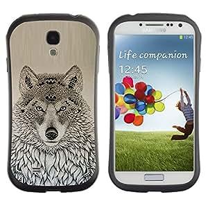 LASTONE PHONE CASE / Suave Silicona Caso Carcasa de Caucho Funda para Samsung Galaxy S4 I9500 / wolf native American pattern black drawing