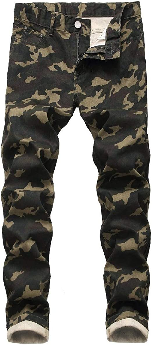 Tootess Mens Print Denim Comfy Stretchy Fabric Camouflage Pocketed Chino Pant