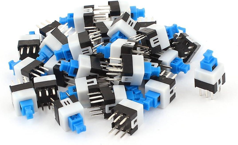 7 X 7 Mm Square 30 Pcs 6 Pins Latching Action Dpdt Mini Push Button Switch Baumarkt
