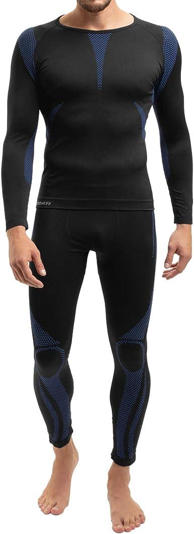 celodoro - Set de Ropa Deportiva Funcional sin Costuras para Hombre - Camiseta y pantalón térmicos con Elastano - para esquí