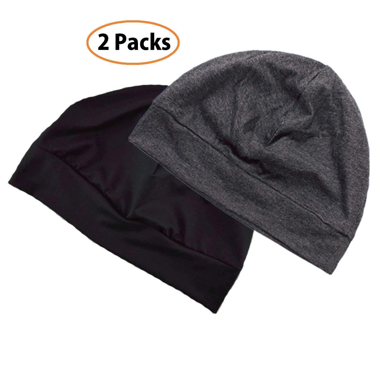 Headshion Unisex Chemo Caps, 2-Packs Cotton Stretch Beanie Hat Multifunction Skull Cap Sleep Cap for Men & Women (Black & Gray)