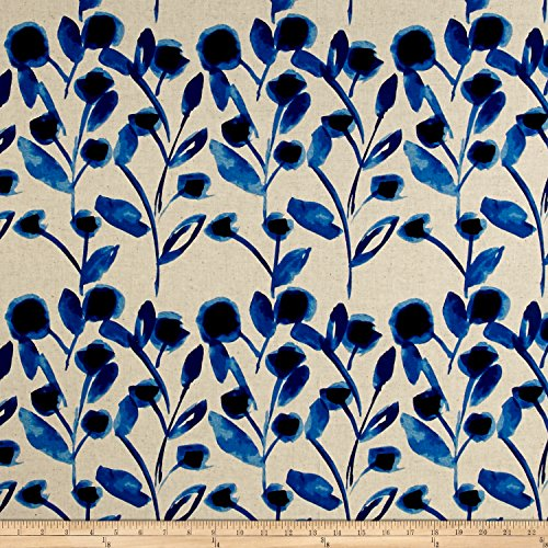 (Robert Kaufman Sevenberry Canvas Cotton Flax Prints Vines Fabric, Blue )