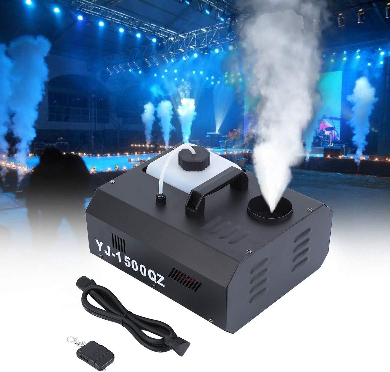 MuGuang 1500 W DMX Vertical de máquina de niebla humo eléctrica 2L con mando a distancia Fog Machine para Stage Wedding Disco DJ Bar Party Rocíe hasta aprox. 5 m