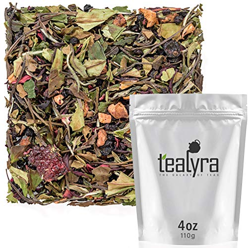 Tealyra - White Garden Bouquet - Fruity White Loose Leaf Tea Blend - Hibiscus - Strawberry - Raspberry - Antioxidants and Vitamines Rich - All Natural Ingredients - 110g (4-ounce) ()