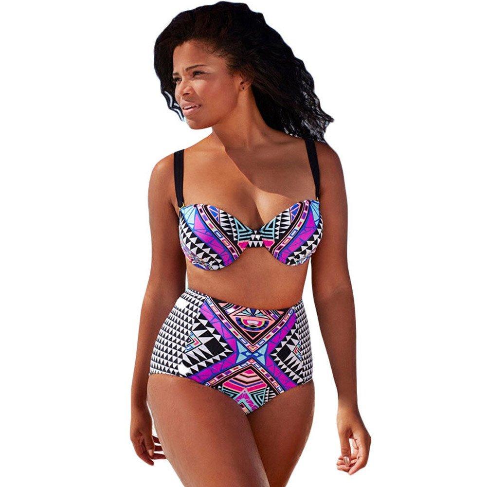 X&L XL, Bikini, lila, Tribal Drucke, hoch, dreieckig, Split, Bademode