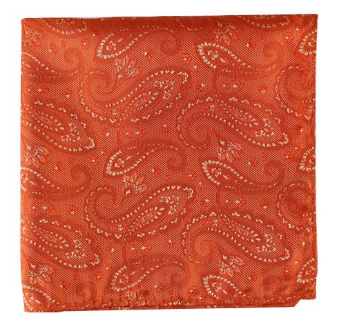 (The Tie Bar 100% Woven Silk Platform Paisley Tangerine Pocket Square)