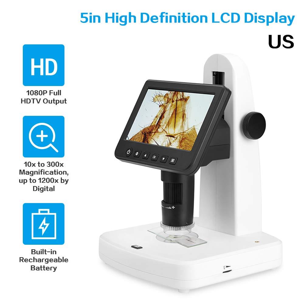 Microscopio digitale LCD Display LCD portatile professionale da 5  Microscopio elettronico a 1080p Full HDTV con polarizzatore