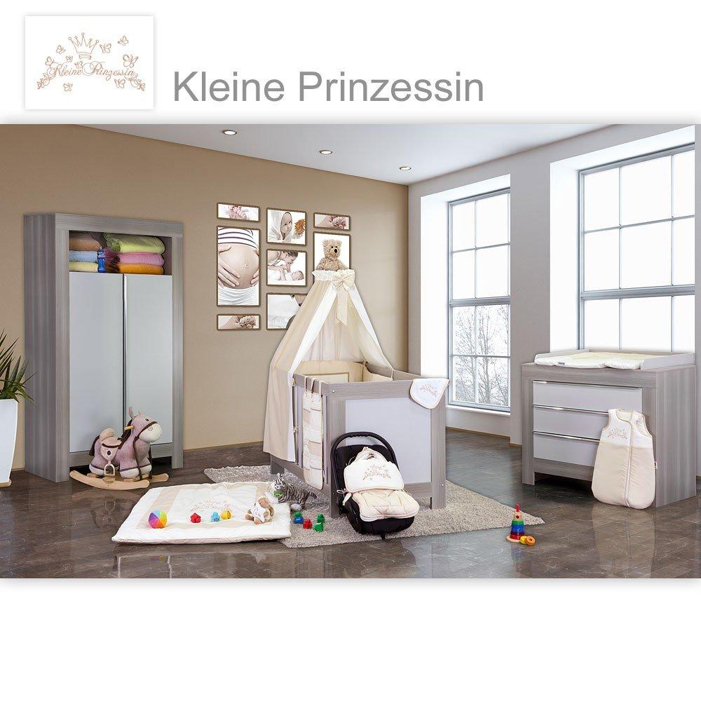 Babyzimmer Felix in akaziengrau 19 tlg. mit 2 türigem Kl. + Kleine Prinzessin in Beige