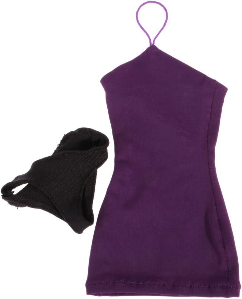 Rouge sharprepublic 1//6 Paquet Hanche Halter Cou Robe Jupe pour 12 Jouets Chauds Femmes Phicen Kumik