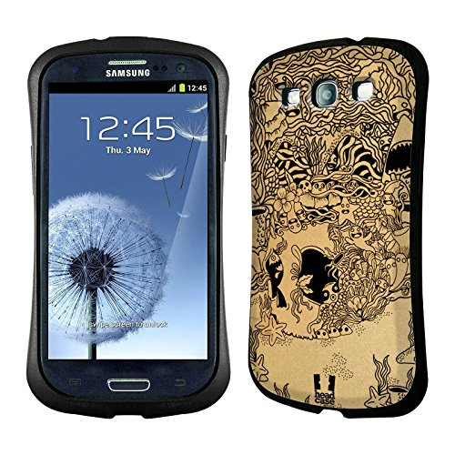 Head Case Designs Underwater Doodle Skull Hybrid Gel Back Case for Samsung Galaxy S3 III I9300