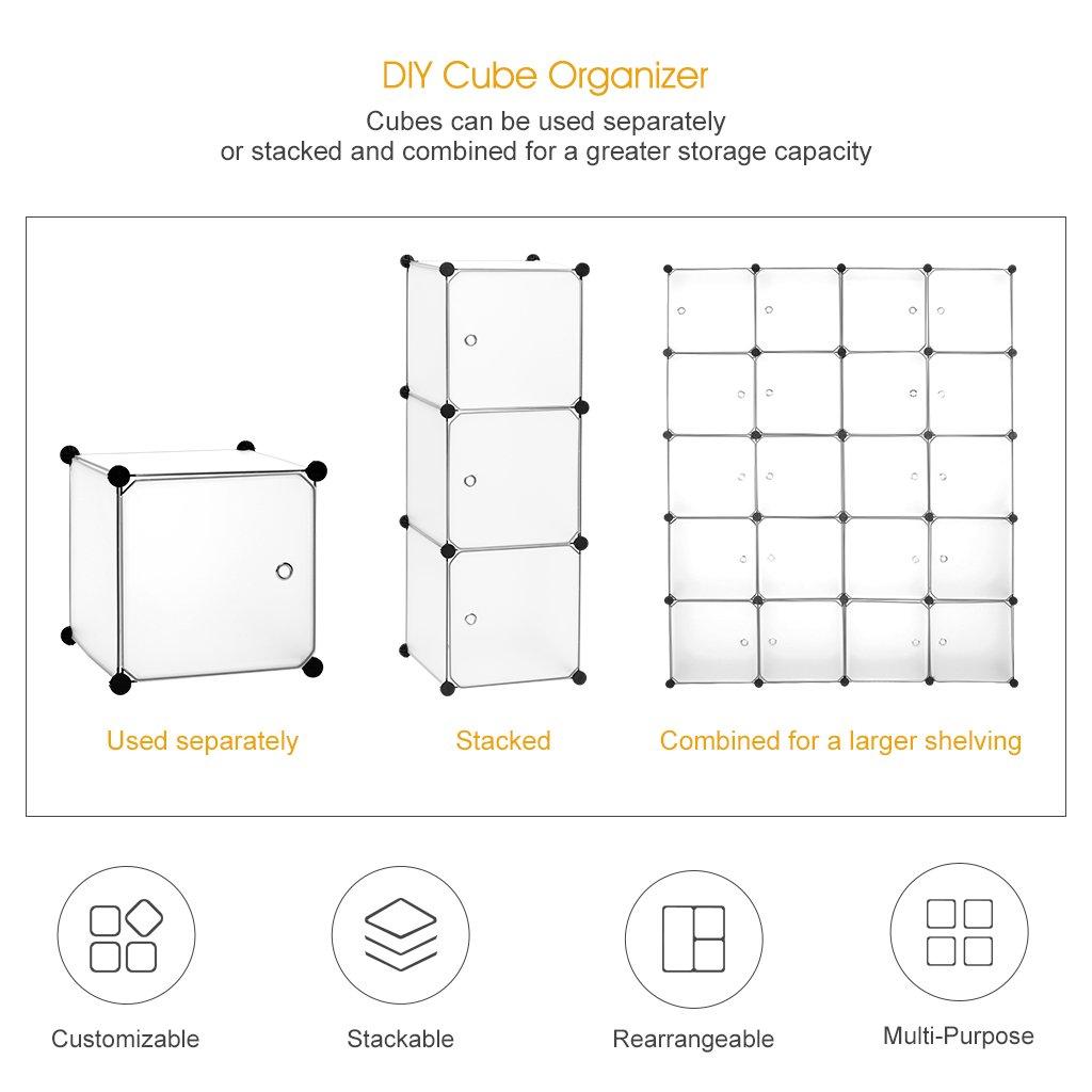 Langria 20 Cube Organizer Cubby Shelving Plastic Storage Cubes Drawer Unit Diy Modular Bookcase
