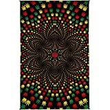 Sunshine Joy 3D Weed Vortex Rasta Tapestry Tablecloth Wall Art Beach Sheet Huge 60x90 Inches - Amazing 3D Effects