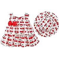 Toddler Baby Girls Hawaiian Holiday Dress + Straw Hat Rainbow Backless Tutu Sundress Birthday Party Princess Clothes