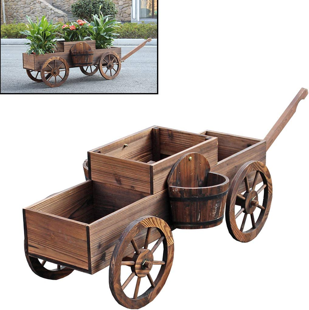 Wooden Barrel Planter, Stand W/Wheels Home Garden Outdoor Decor, Wood Wagon Stand Flower Plante Pot, for Patio Plant