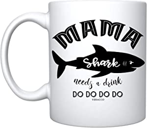 Veracco Mama Shark Needs a Drink Ceramic Coffee Mug Funny Shark Mother's Day Gifts For New Mom Mommy