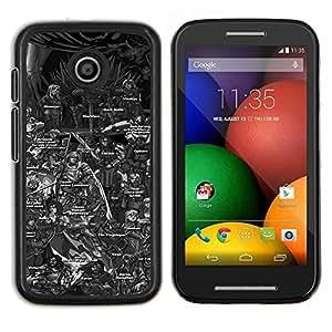 Caucho caso de Shell duro de la cubierta de accesorios de protección BY RAYDREAMMM - Motorola Moto E - Tabla de caracteres Tronos Serie de dibujos animados