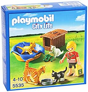 Playmobil Veterinaria - Familia de gatos con cesta, playset (5535)