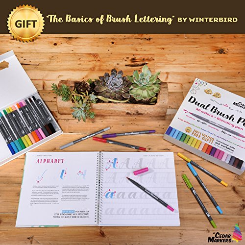 Cedar Markers Dual Brush Pens. 21 Calligraphy Pen Set with Free Hand Lettering Guide Book. Fine Liner and Brush Tip Markers. Colored Pens, Art Pens for Adult Coloring Book and Bullet Journal. (21 XL) by Cedar Markers (Image #5)