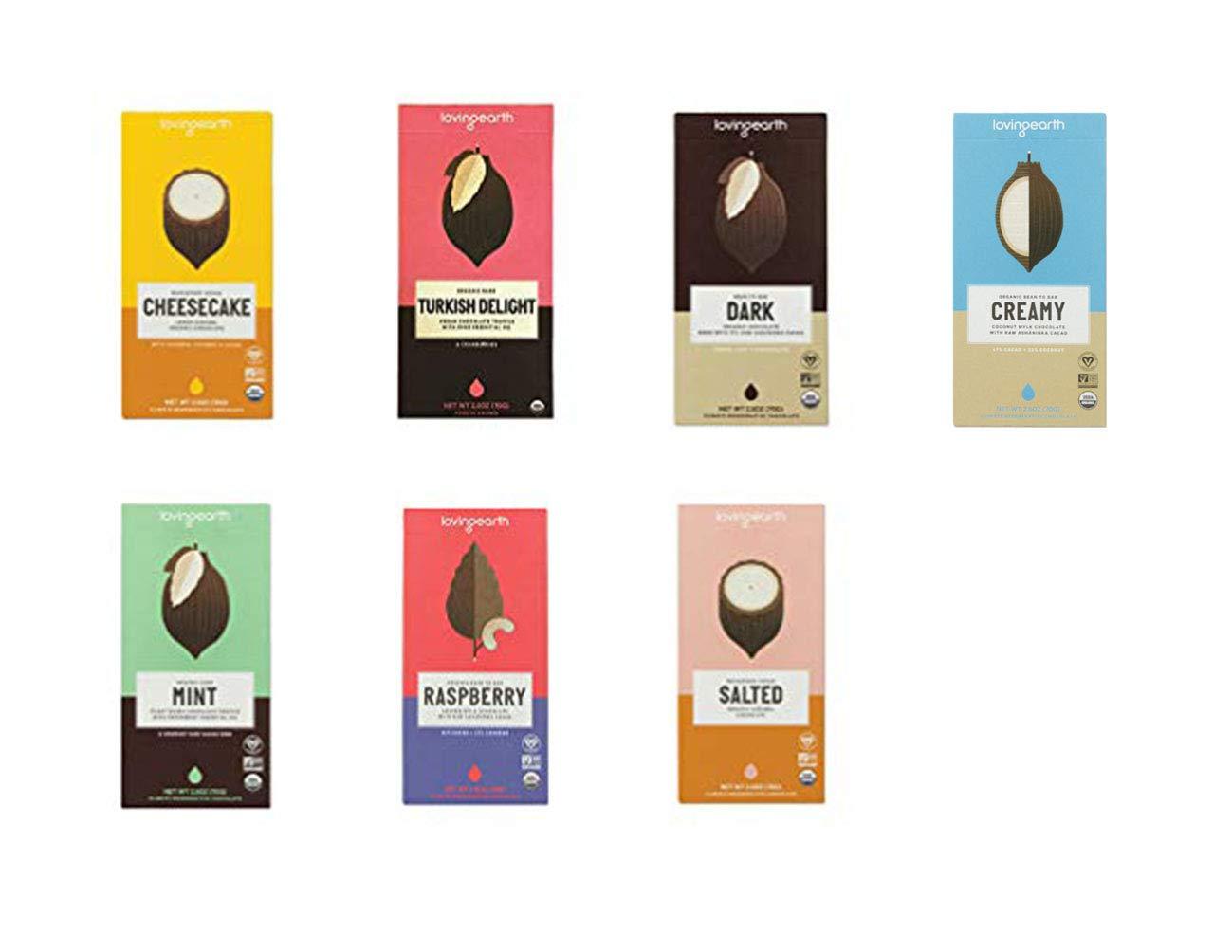 Loving Earth, USDA Organic Chocolate bar, 6 Flavor Variety Pack (Salted, Mint, Dark, Turkish Delight, Cheesecake & Raspberry)