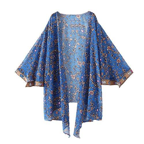 Han Shi Blouse, Women Print Chiffon Loose Shawl Long Kimono Cardigan Cover up Shirt (S)