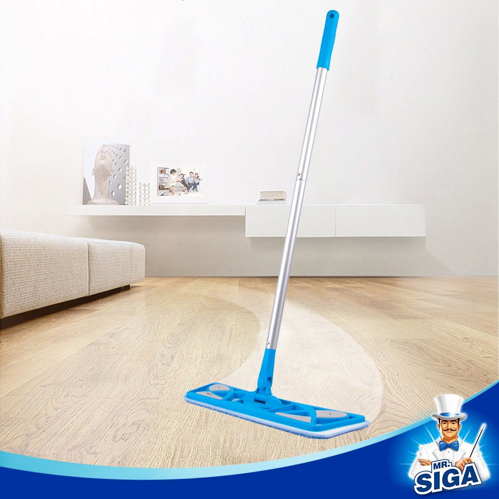 - Pad Size 43 x 21cm Included 2 Microfiber Refills and 6 Dry Cloths MR SIGA Microfiber Flat Mop
